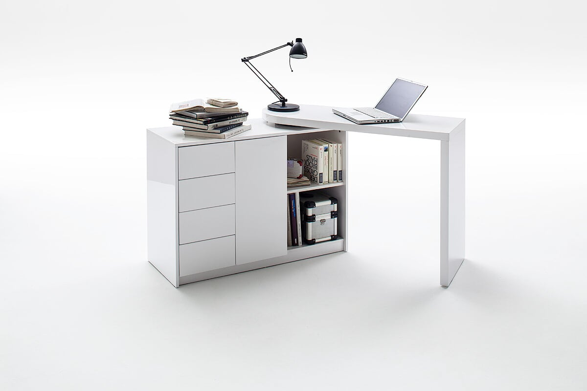 Asko 108cm Small Compact Office Desk With Swivel Shelves